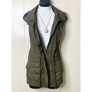 YMI Olive Green Utility Zip Up Vest